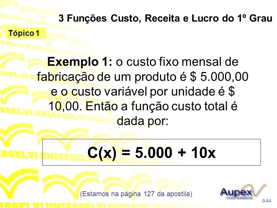 3 Funções Custo, Receita e Lucro do 1º Grau (Estamos na página 127 da apostila) 9/44 Tópico 1 Exemplo 1: o custo fixo mensal de fabricação de um produto é $ 5.000,00 e o custo variável por unidade é $ 10,00.
