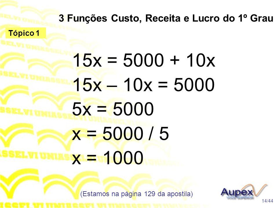3 Funções Custo, Receita e Lucro do 1º Grau (Estamos na página 129 da apostila) 14/44 Tópico 1 15x = 5000 + 10x 15x – 10x = 5000 5x = 5000 x = 5000 / 5 x = 1000