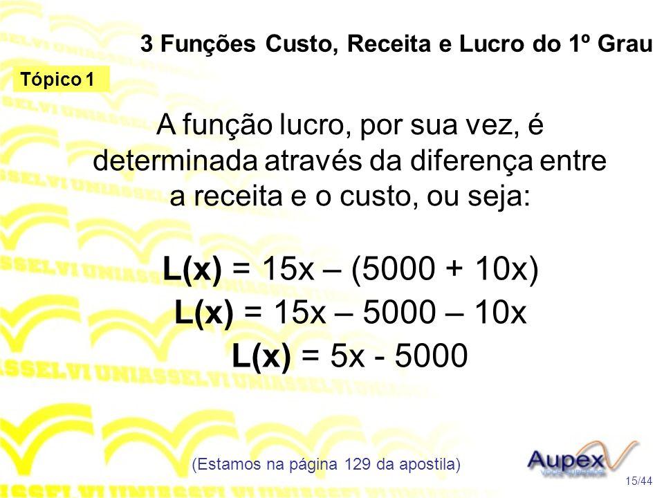 3 Funções Custo, Receita e Lucro do 1º Grau (Estamos na página 129 da apostila) 15/44 Tópico 1 A função lucro, por sua vez, é determinada através da d