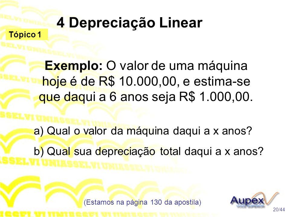 4 Depreciação Linear (Estamos na página 130 da apostila) 20/44 Tópico 1 Exemplo: O valor de uma máquina hoje é de R$ 10.000,00, e estima-se que daqui