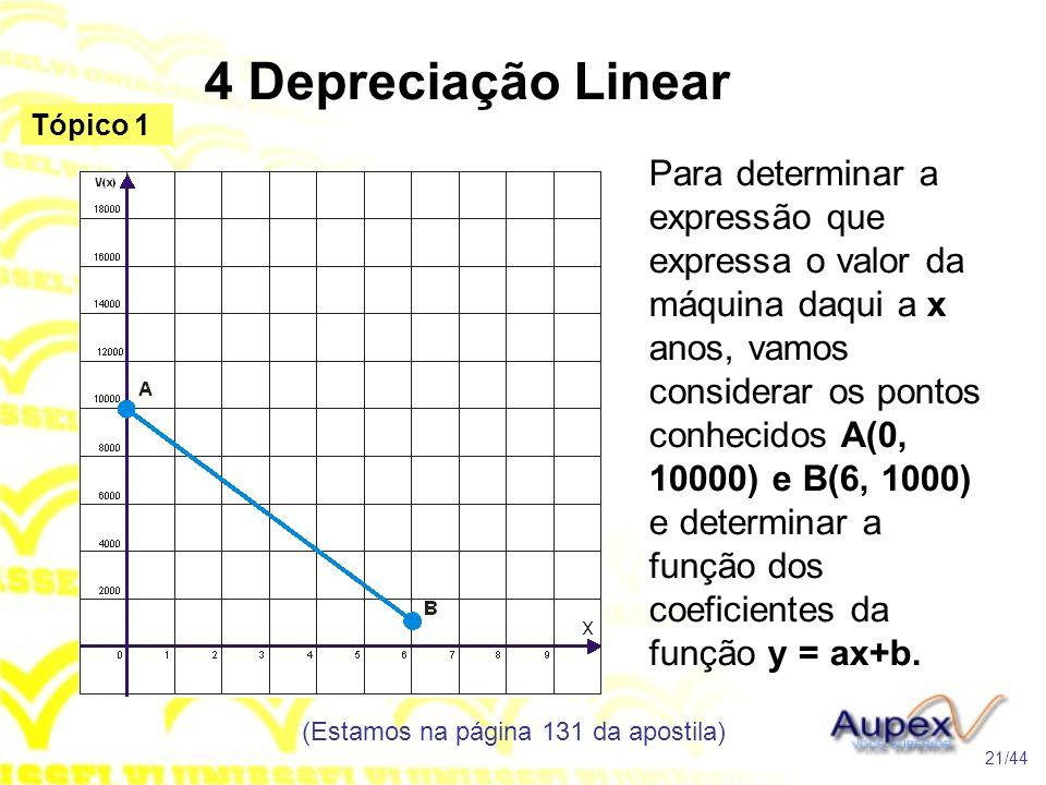 4 Depreciação Linear (Estamos na página 131 da apostila) 21/44 Tópico 1 Para determinar a expressão que expressa o valor da máquina daqui a x anos, vamos considerar os pontos conhecidos A(0, 10000) e B(6, 1000) e determinar a função dos coeficientes da função y = ax+b.