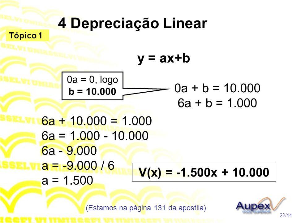 4 Depreciação Linear (Estamos na página 131 da apostila) 22/44 Tópico 1 y = ax+b 0a + b = 10.000 6a + b = 1.000 0a = 0, logo b = 10.000 6a + 10.000 = 1.000 6a = 1.000 - 10.000 6a - 9.000 a = -9.000 / 6 a = 1.500 V(x) = -1.500x + 10.000