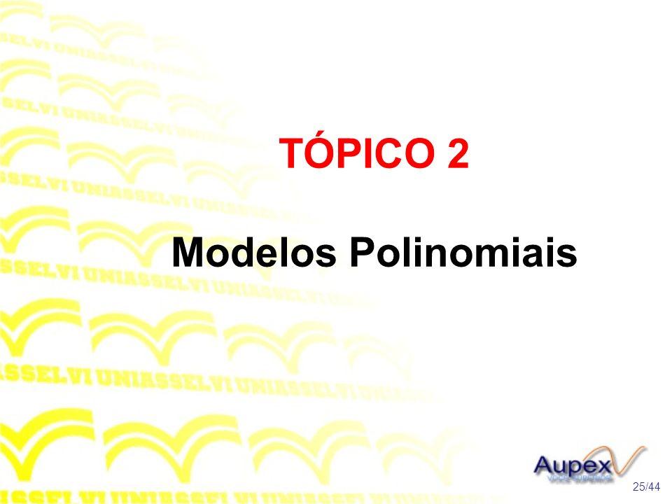 TÓPICO 2 Modelos Polinomiais 25/44