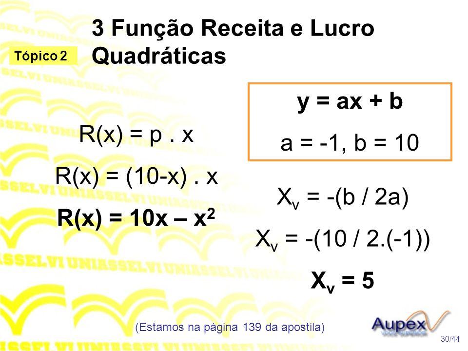 3 Função Receita e Lucro Quadráticas (Estamos na página 139 da apostila) 30/44 Tópico 2 R(x) = p. x R(x) = (10-x). x R(x) = 10x – x 2 y = ax + b a = -