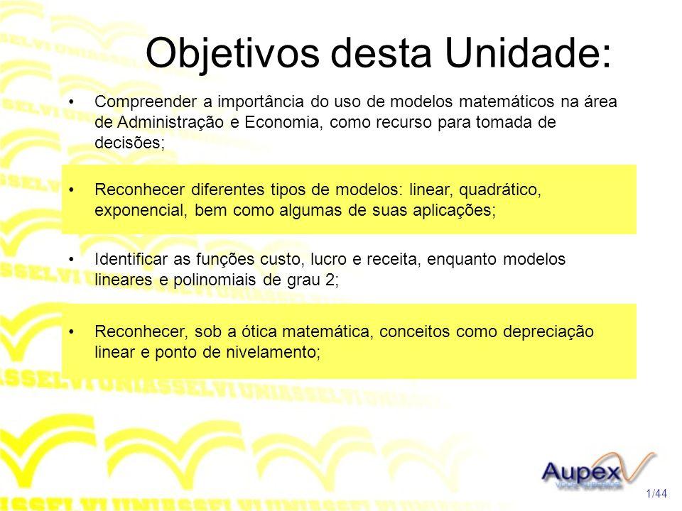Objetivos desta Unidade: Compreender a importância do uso de modelos matemáticos na área de Administração e Economia, como recurso para tomada de deci