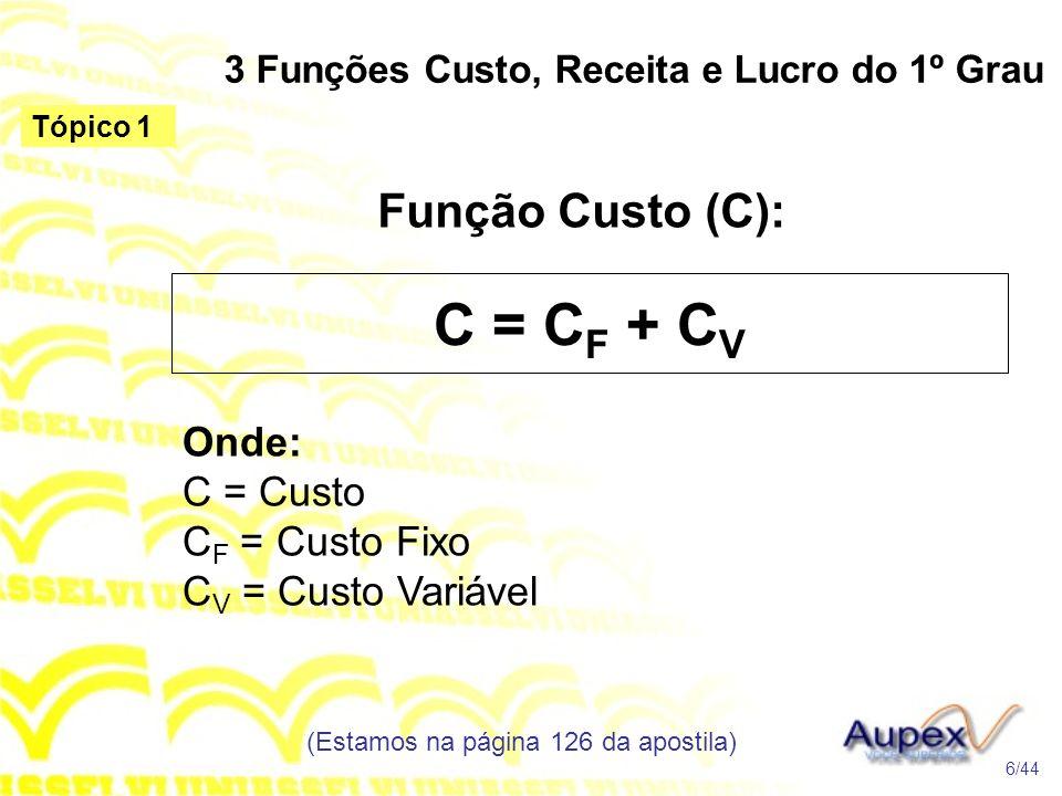 3 Funções Custo, Receita e Lucro do 1º Grau Função Custo (C): (Estamos na página 126 da apostila) 6/44 Tópico 1 C = C F + C V Onde: C = Custo C F = Custo Fixo C V = Custo Variável