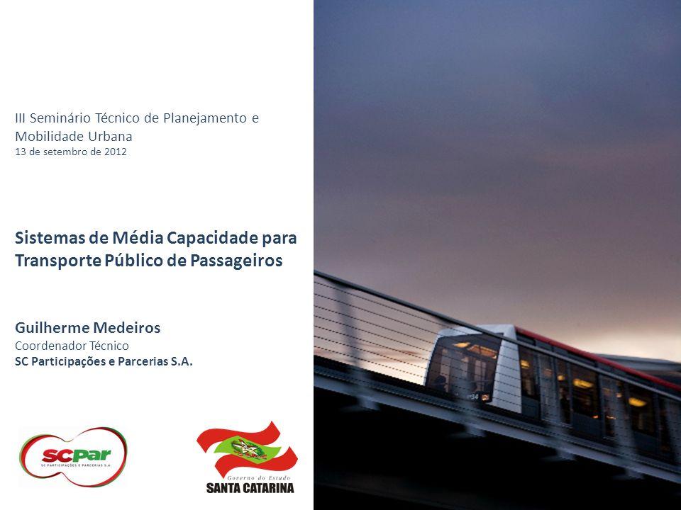 Sistemas de Média Capacidade para Transporte Público de Passageiros Capacidade maior que o ônibus convencional, e inferior à do metrô.