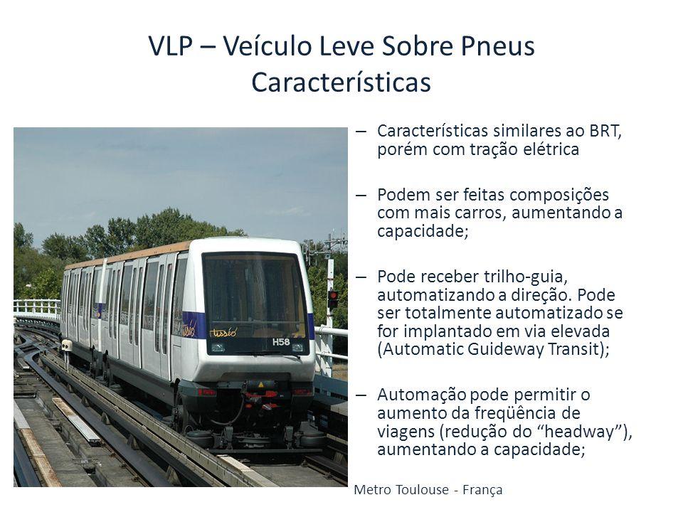 VLP – Veículo Leve Sobre Pneus Características – Características similares ao BRT, porém com tração elétrica – Podem ser feitas composições com mais c