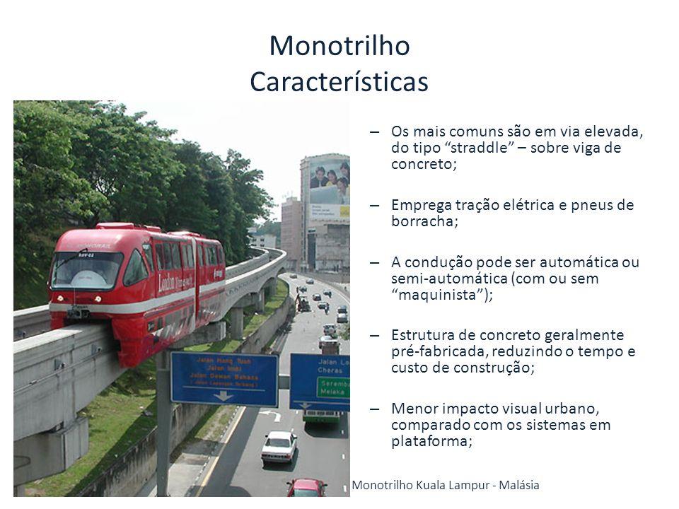 Monotrilho Características – Os mais comuns são em via elevada, do tipo straddle – sobre viga de concreto; – Emprega tração elétrica e pneus de borrac