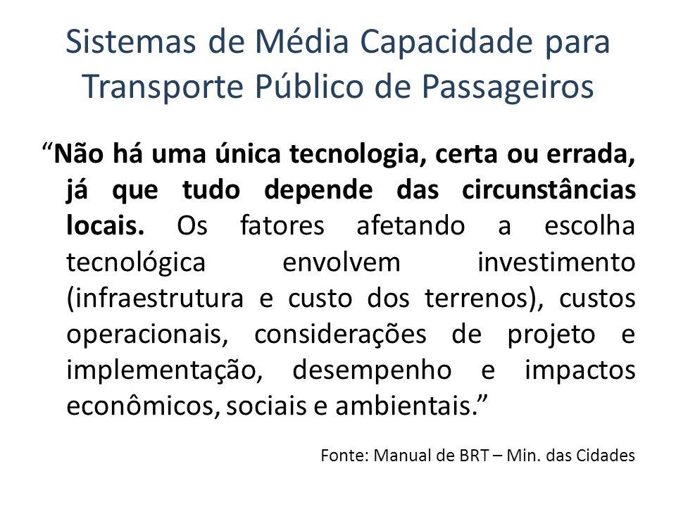 Sistemas de Média Capacidade para Transporte Público de Passageiros Não há uma única tecnologia, certa ou errada, já que tudo depende das circunstânci