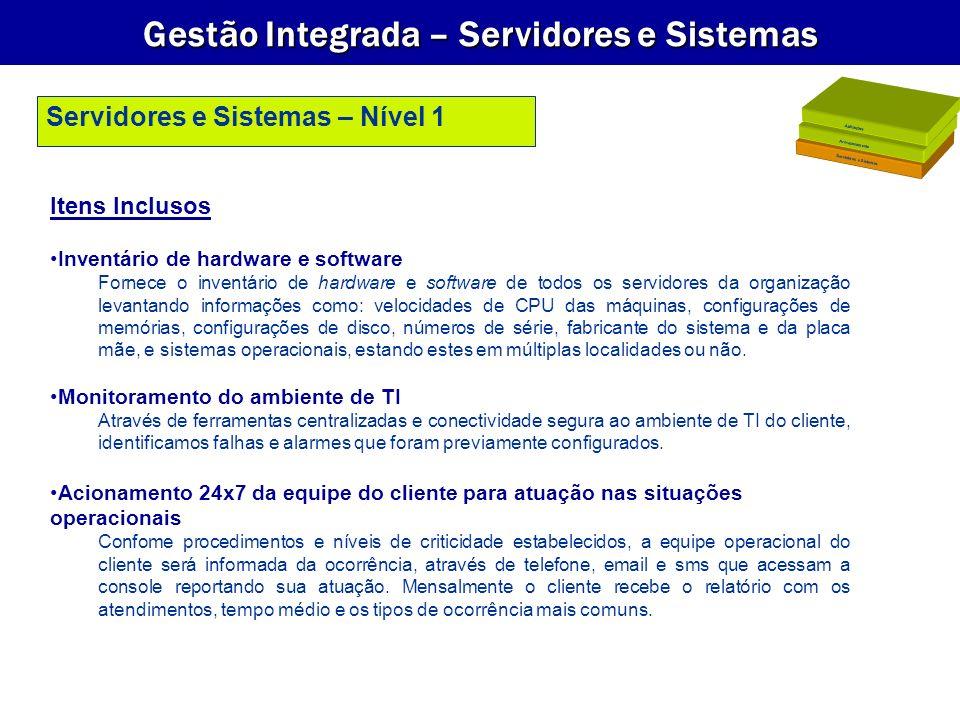 Gestão Integrada – Servidores e Sistemas Itens Inclusos Inventário de hardware e software Fornece o inventário de hardware e software de todos os serv