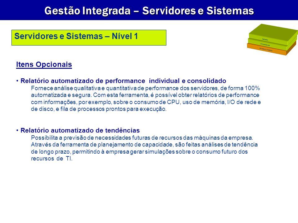 Gestão Integrada – Servidores e Sistemas Itens Opcionais Relatório automatizado de performance individual e consolidado Fornece análise qualitativa e