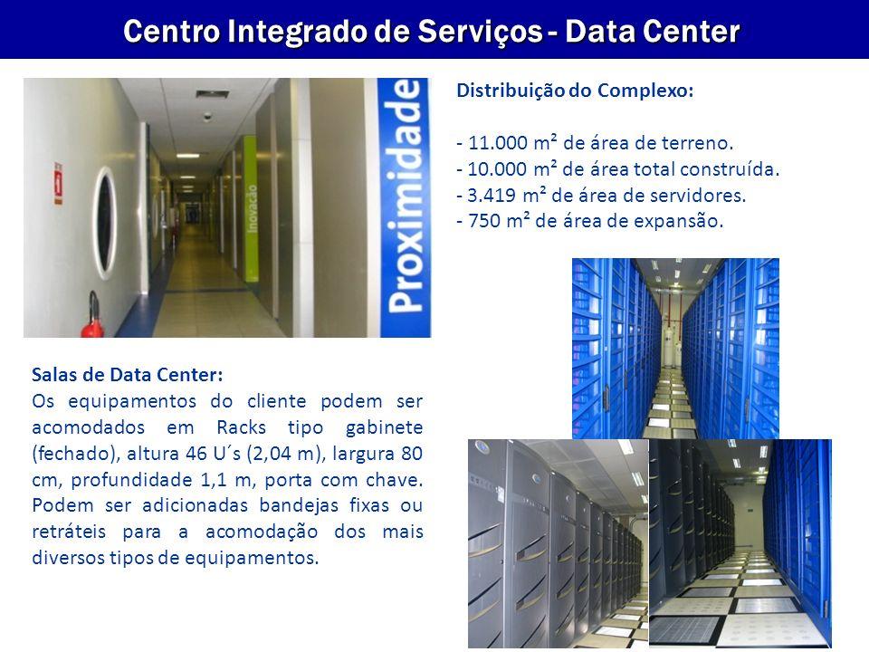 VP Empresas Centro Integrado de Serviços - Data Center Salas de Data Center: Os equipamentos do cliente podem ser acomodados em Racks tipo gabinete (f
