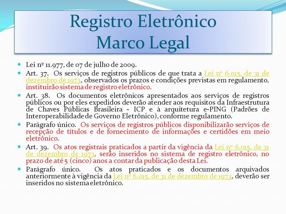 Registro Eletrônico Marco Legal Lei nº 11.977, de 07 de julho de 2009. Art. 37. Os serviços de registros públicos de que trata a Lei n o 6.015, de 31