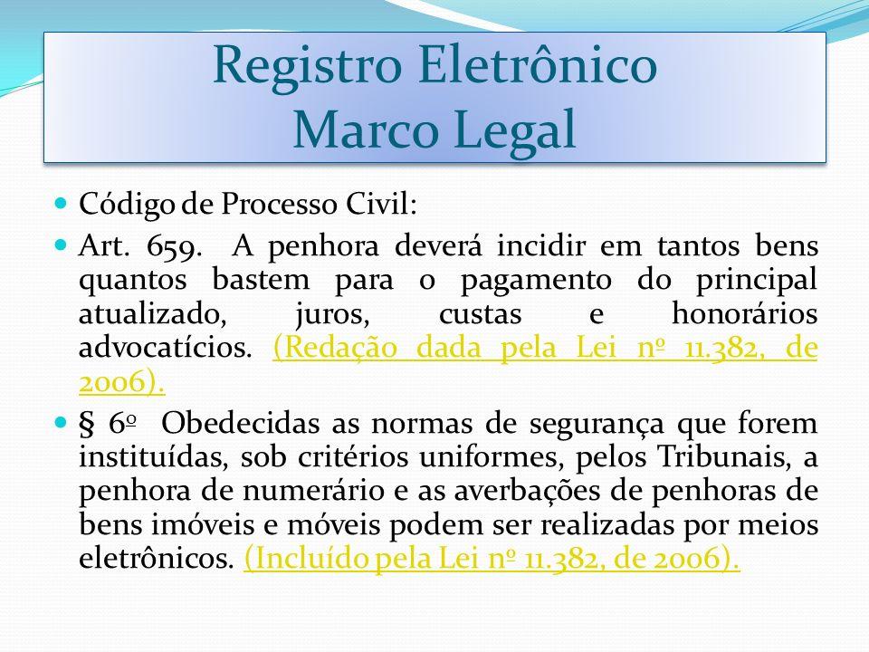 Registro Eletrônico Marco Legal Código de Processo Civil: Art. 659. A penhora deverá incidir em tantos bens quantos bastem para o pagamento do princip