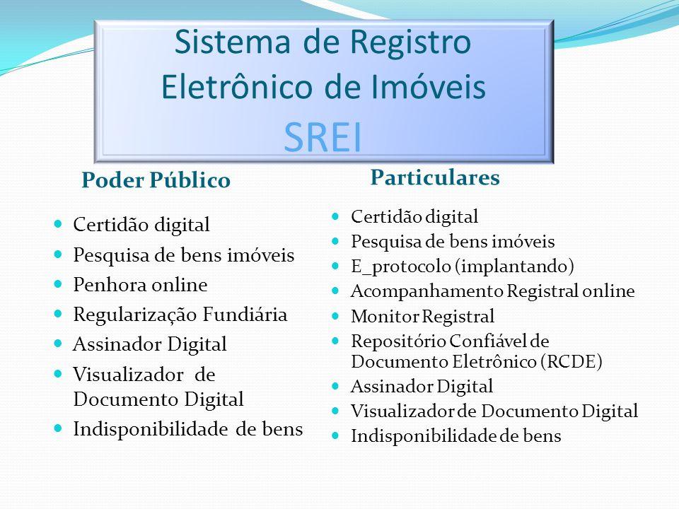 Sistema de Registro Eletrônico de Imóveis SREI Poder Público Particulares Certidão digital Pesquisa de bens imóveis Penhora online Regularização Fundi