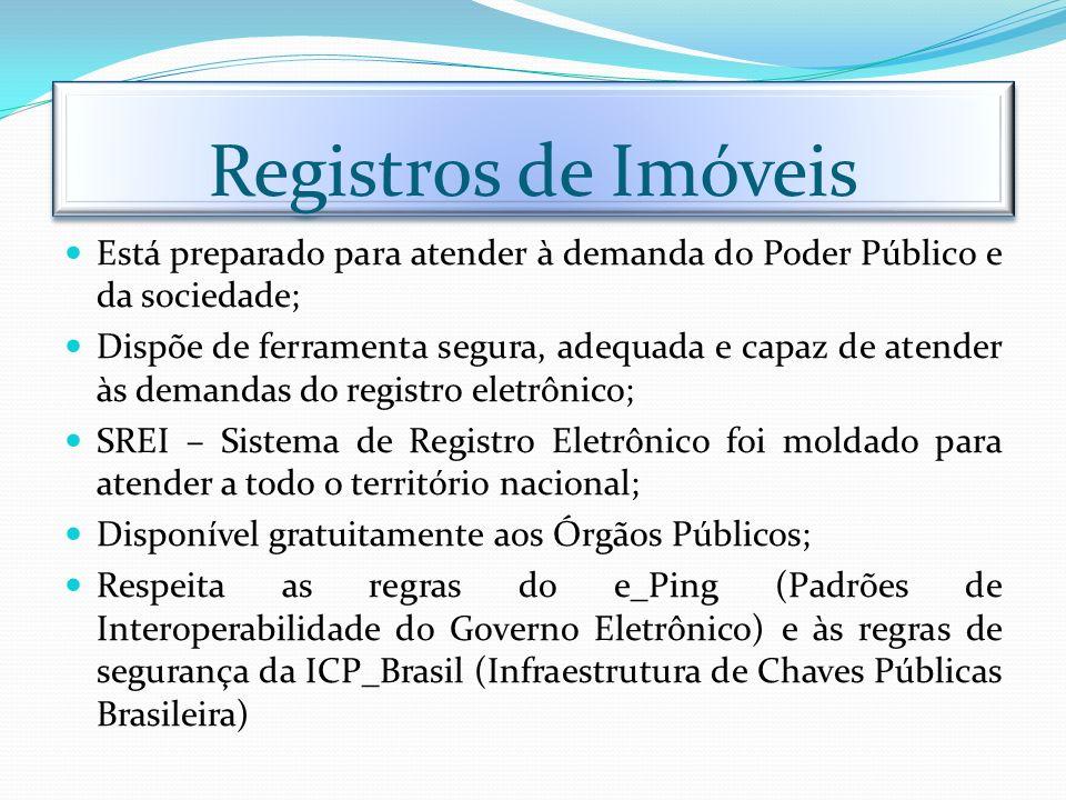 Registros de Imóveis Está preparado para atender à demanda do Poder Público e da sociedade; Dispõe de ferramenta segura, adequada e capaz de atender à