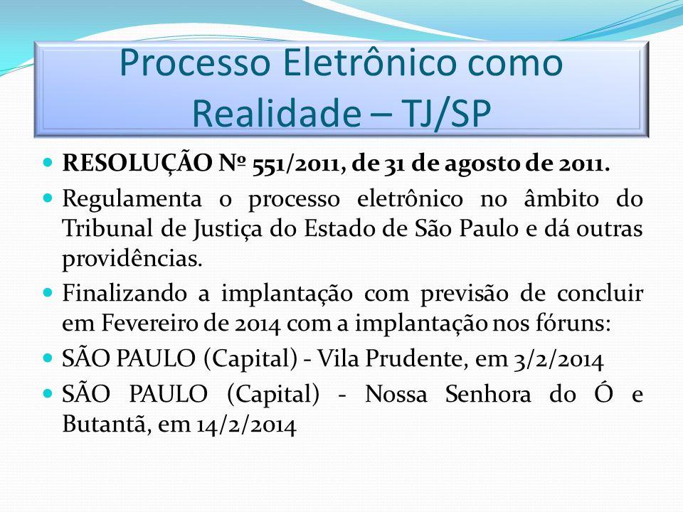 Processo Eletrônico como Realidade – TJ/SP RESOLUÇÃO Nº 551/2011, de 31 de agosto de 2011. Regulamenta o processo eletrônico no âmbito do Tribunal de