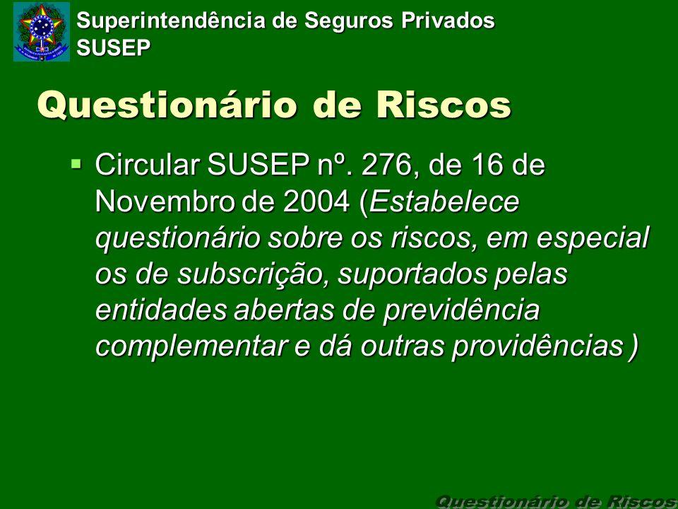 Superintendência de Seguros Privados SUSEP Questionário de Riscos Circular SUSEP nº.