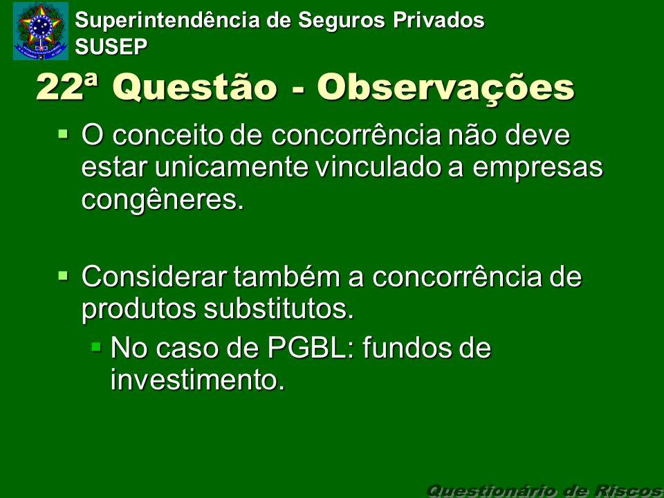 Superintendência de Seguros Privados SUSEP 22ª Questão - Observações O conceito de concorrência não deve estar unicamente vinculado a empresas congêneres.