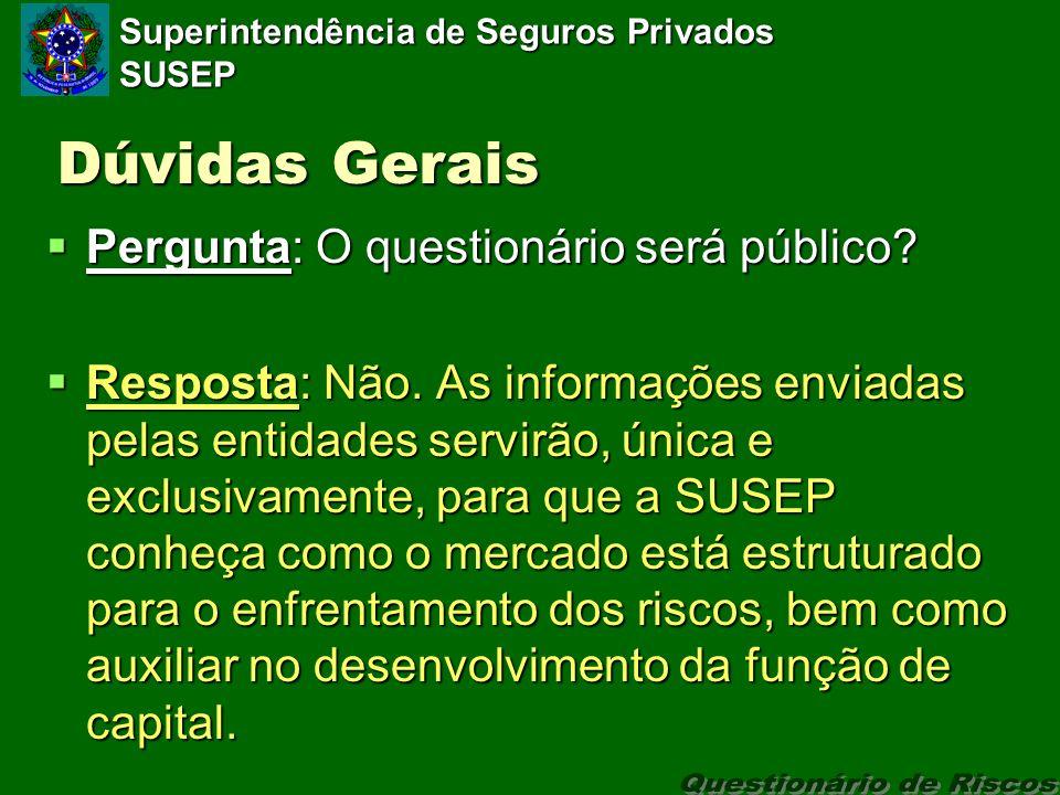 Superintendência de Seguros Privados SUSEP Dúvidas Gerais Pergunta: O questionário será público.