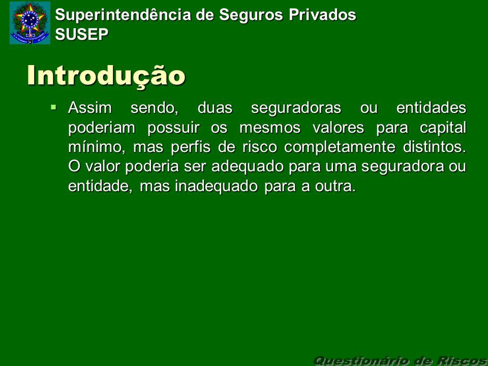 Superintendência de Seguros Privados SUSEP Introdução Assim sendo, duas seguradoras ou entidades poderiam possuir os mesmos valores para capital mínimo, mas perfis de risco completamente distintos.