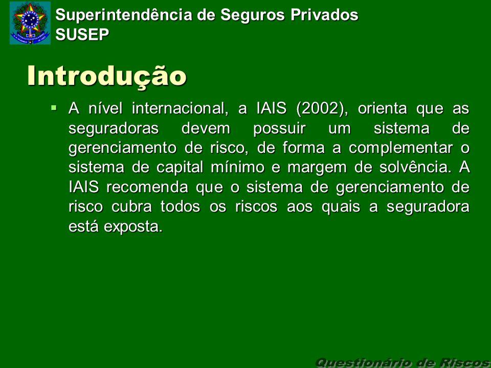 Superintendência de Seguros Privados SUSEP Introdução A nível internacional, a IAIS (2002), orienta que as seguradoras devem possuir um sistema de gerenciamento de risco, de forma a complementar o sistema de capital mínimo e margem de solvência.