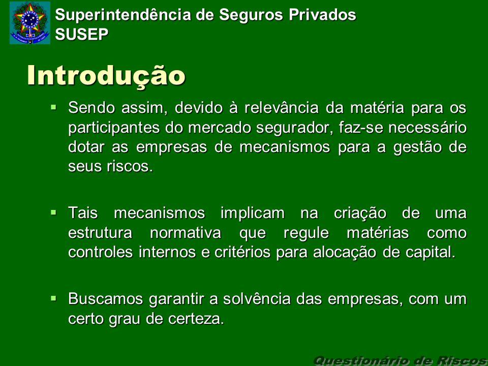 Superintendência de Seguros Privados SUSEP Introdução Sendo assim, devido à relevância da matéria para os participantes do mercado segurador, faz-se necessário dotar as empresas de mecanismos para a gestão de seus riscos.