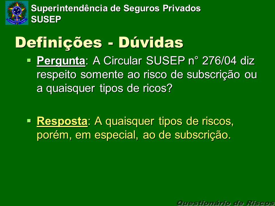 Superintendência de Seguros Privados SUSEP Definições - Dúvidas Pergunta: A Circular SUSEP n° 276/04 diz respeito somente ao risco de subscrição ou a quaisquer tipos de ricos.
