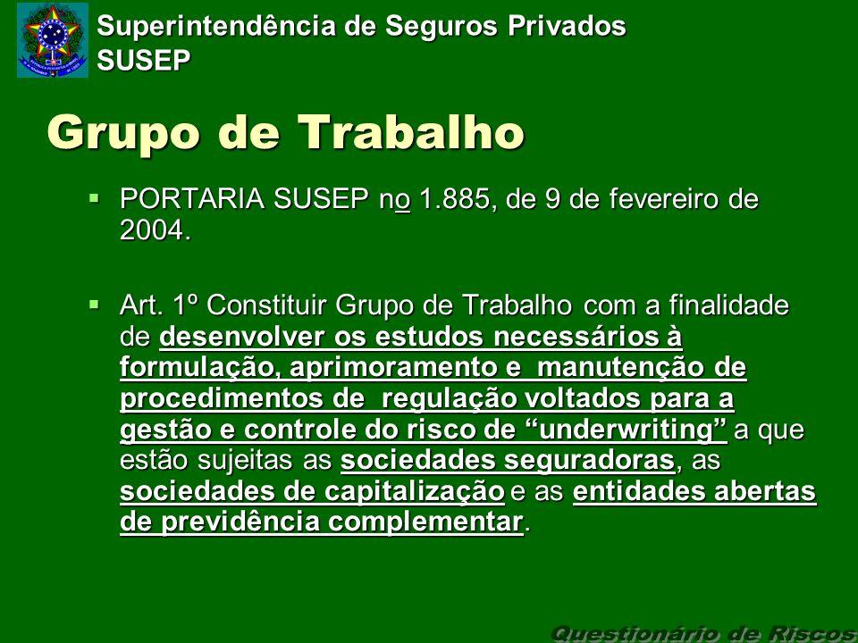 Superintendência de Seguros Privados SUSEP Grupo de Trabalho PORTARIA SUSEP no 1.885, de 9 de fevereiro de 2004.