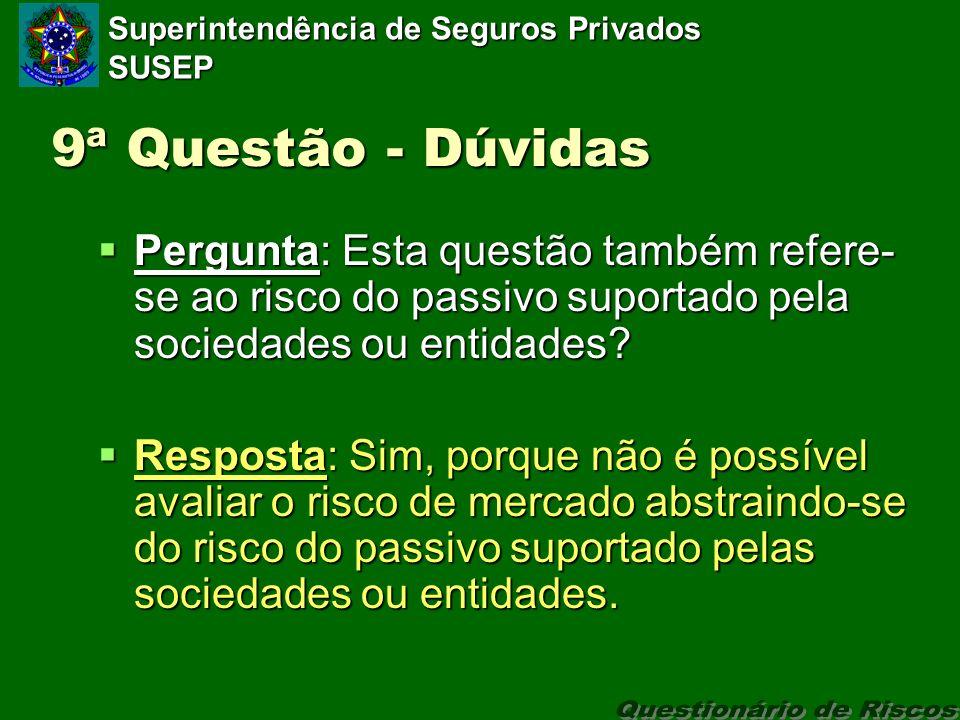 Superintendência de Seguros Privados SUSEP 9ª Questão - Dúvidas Pergunta: Esta questão também refere- se ao risco do passivo suportado pela sociedades ou entidades.