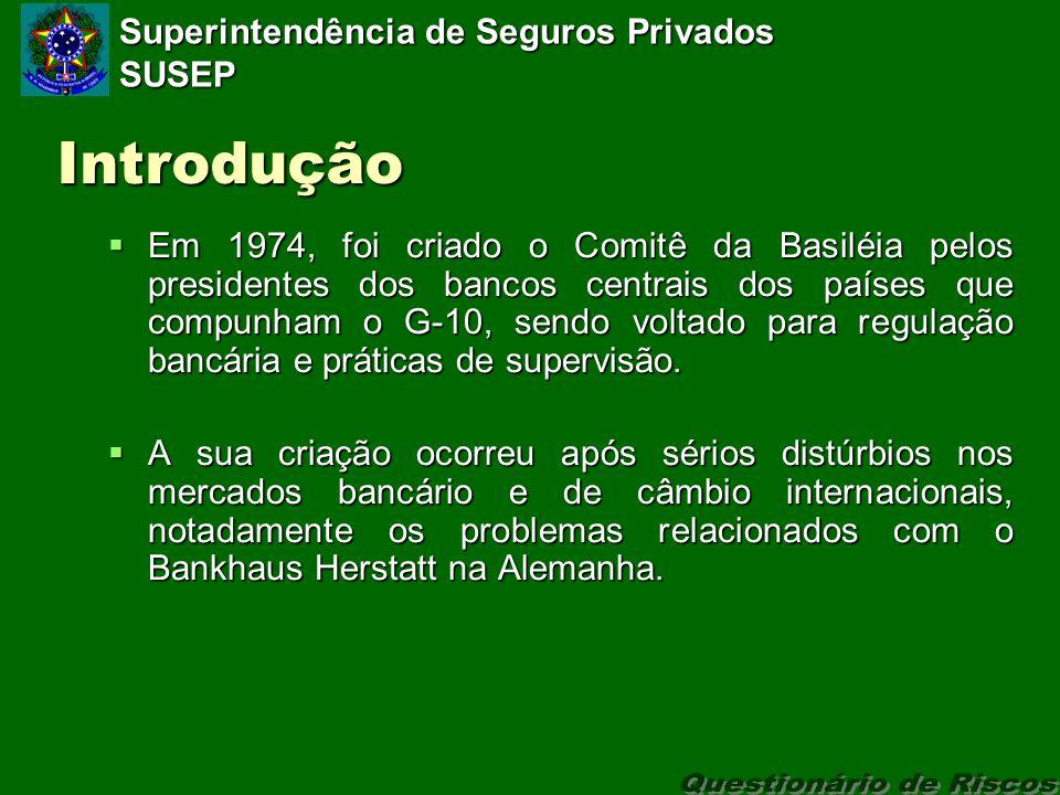 Superintendência de Seguros Privados SUSEP Introdução Em 1974, foi criado o Comitê da Basiléia pelos presidentes dos bancos centrais dos países que compunham o G-10, sendo voltado para regulação bancária e práticas de supervisão.