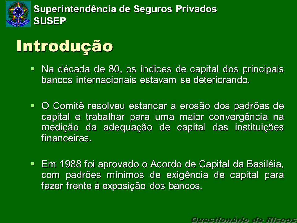 Superintendência de Seguros Privados SUSEP Introdução Na década de 80, os índices de capital dos principais bancos internacionais estavam se deteriorando.