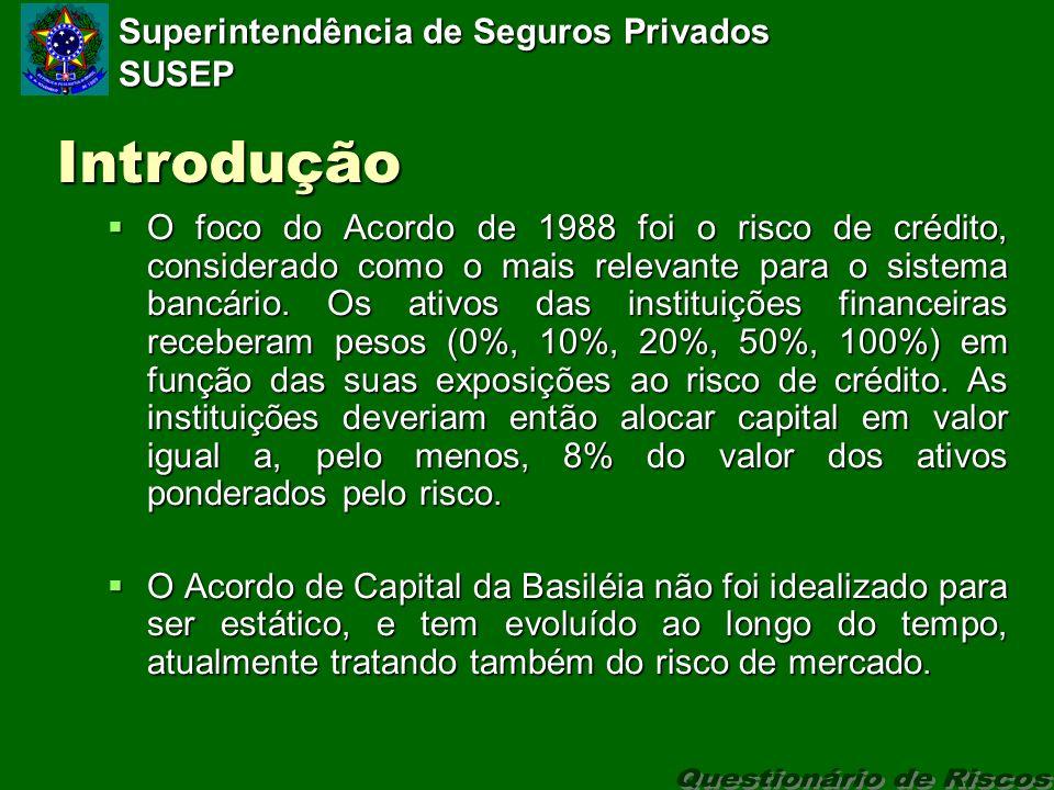 Superintendência de Seguros Privados SUSEP Introdução O foco do Acordo de 1988 foi o risco de crédito, considerado como o mais relevante para o sistema bancário.