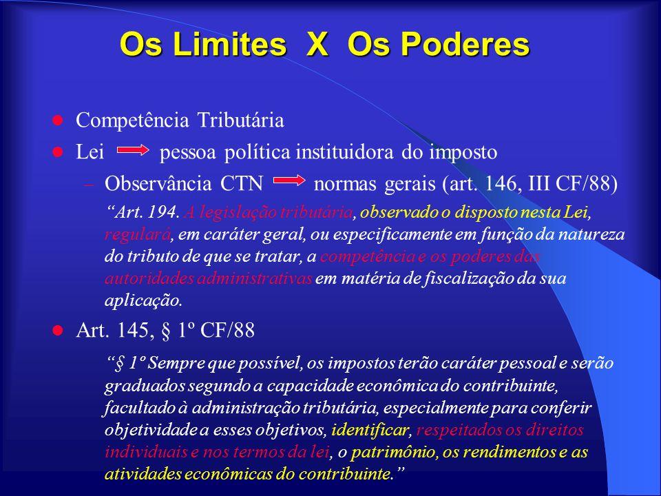 Os Limites X Os Poderes Competência Tributária Lei pessoa política instituidora do imposto – Observância CTN normas gerais (art. 146, III CF/88) Art.