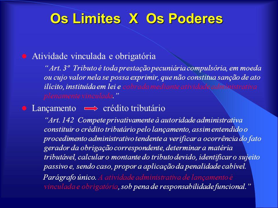 Os Limites X Os Poderes Atividade vinculada e obrigatória Art. 3º Tributo é toda prestação pecuniária compulsória, em moeda ou cujo valor nela se poss