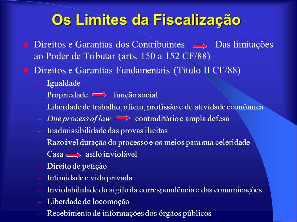 Os Limites da Fiscalização Direitos e Garantias dos Contribuintes Das limitações ao Poder de Tributar (arts. 150 a 152 CF/88) Direitos e Garantias Fun
