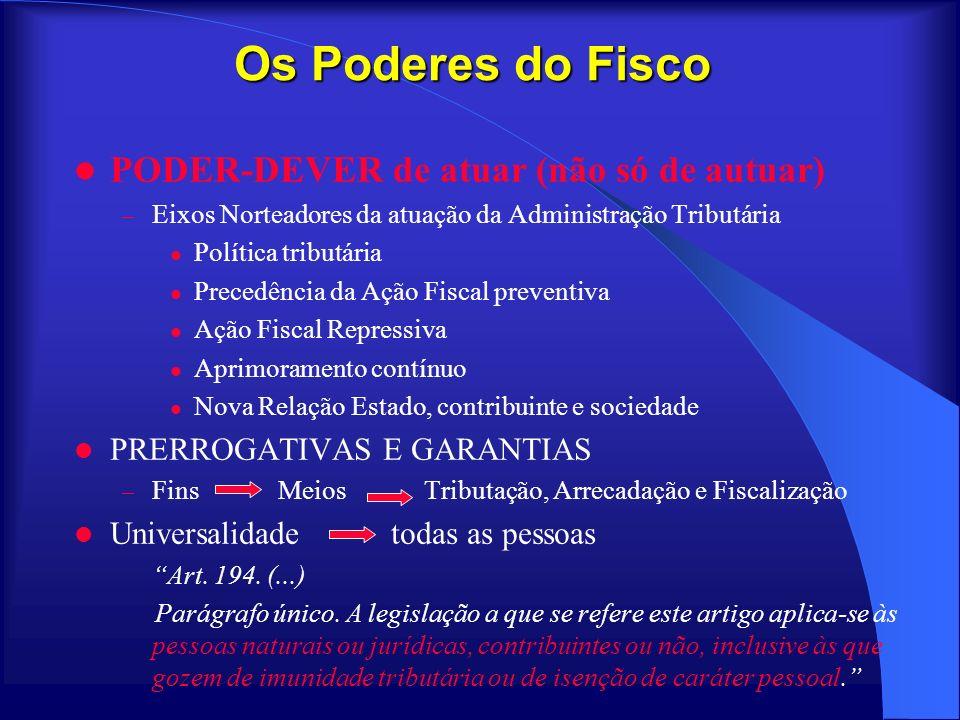 Os Poderes do Fisco PODER-DEVER de atuar (não só de autuar) – Eixos Norteadores da atuação da Administração Tributária Política tributária Precedência