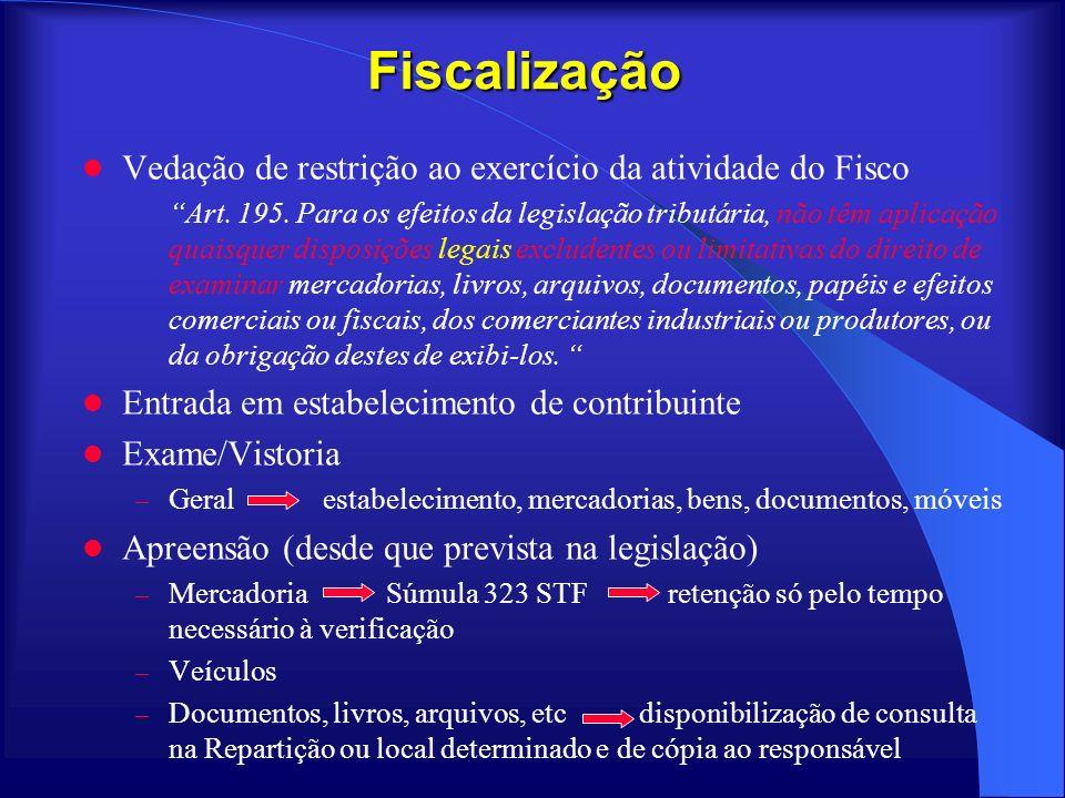 Fiscalização Vedação de restrição ao exercício da atividade do Fisco Art. 195. Para os efeitos da legislação tributária, não têm aplicação quaisquer d