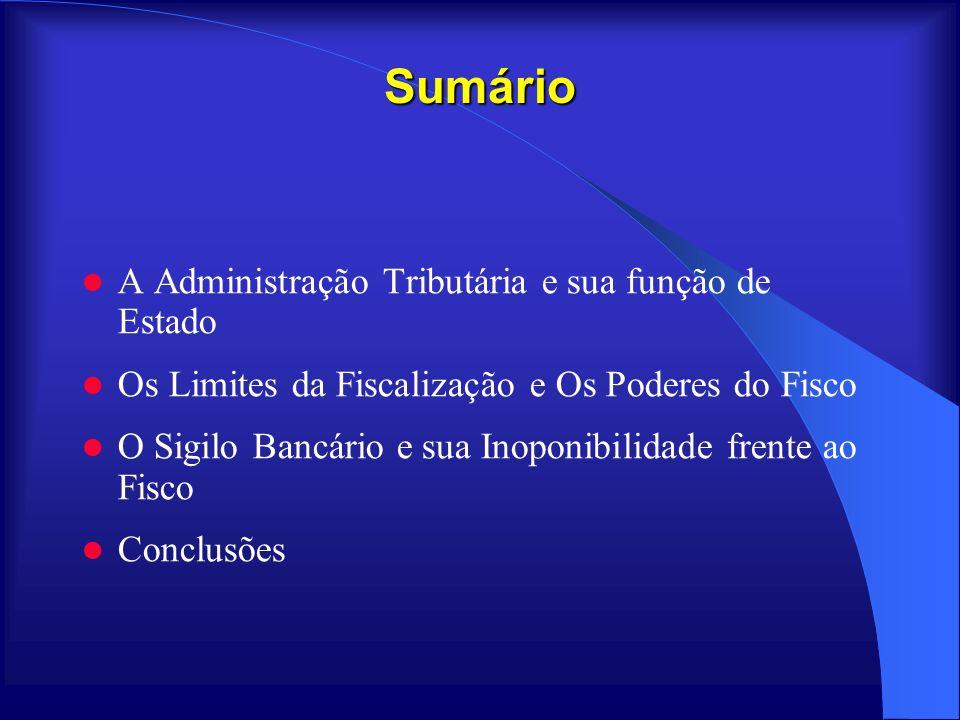 Sumário A Administração Tributária e sua função de Estado Os Limites da Fiscalização e Os Poderes do Fisco O Sigilo Bancário e sua Inoponibilidade fre