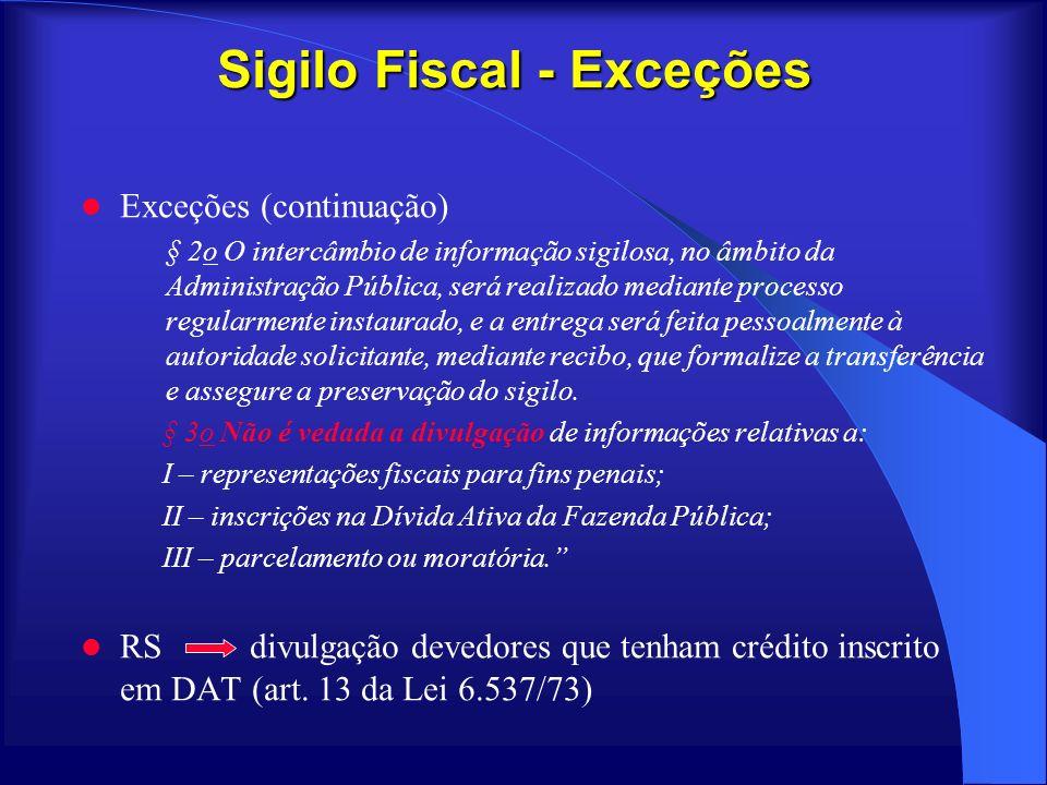 Sigilo Fiscal - Exceções Exceções (continuação) § 2o O intercâmbio de informação sigilosa, no âmbito da Administração Pública, será realizado mediante