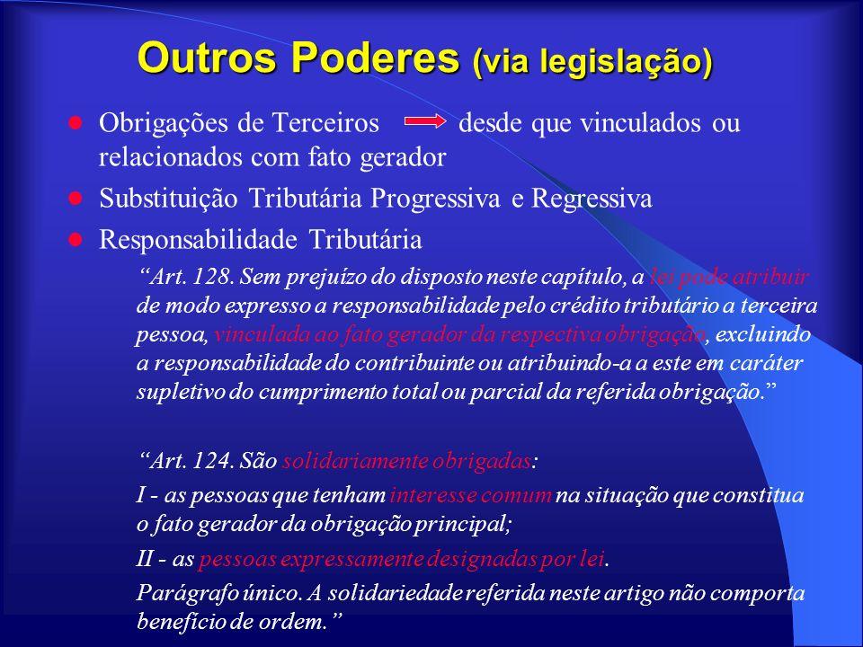 Outros Poderes (via legislação) Obrigações de Terceiros desde que vinculados ou relacionados com fato gerador Substituição Tributária Progressiva e Re