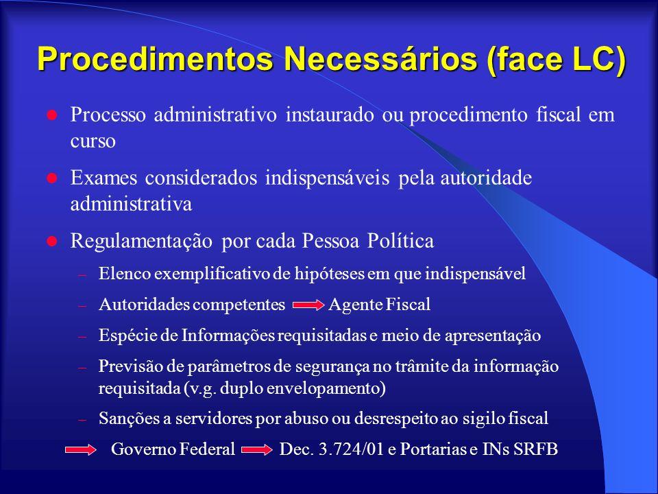 Procedimentos Necessários (face LC) Processo administrativo instaurado ou procedimento fiscal em curso Exames considerados indispensáveis pela autorid