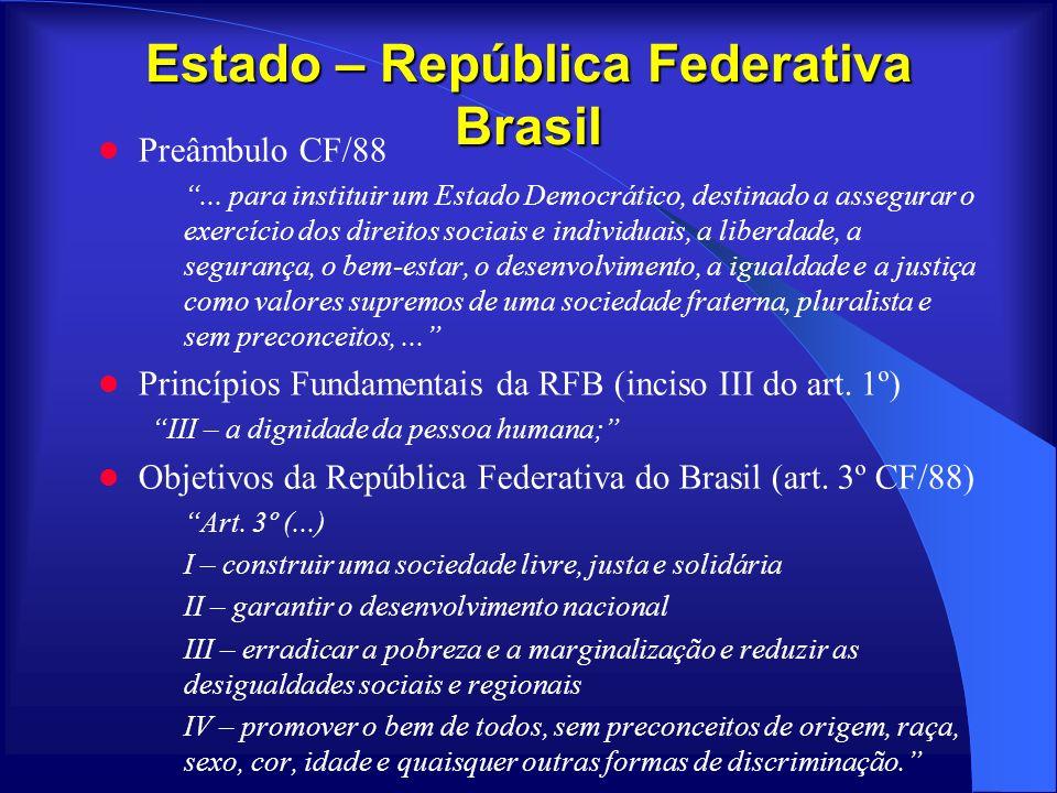 Estado – República Federativa Brasil Preâmbulo CF/88... para instituir um Estado Democrático, destinado a assegurar o exercício dos direitos sociais e