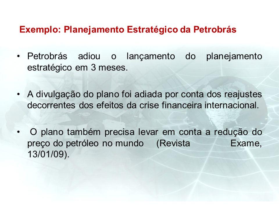 Exemplo: Planejamento Estratégico da Petrobrás Petrobrás adiou o lançamento do planejamento estratégico em 3 meses. A divulgação do plano foi adiada p