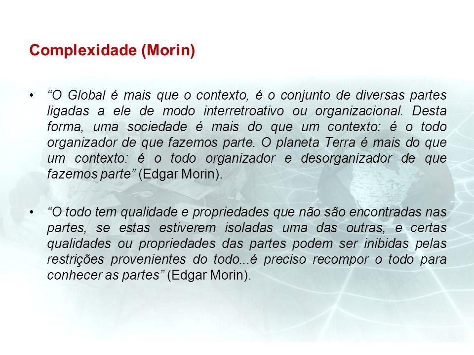Complexidade (Morin) O Global é mais que o contexto, é o conjunto de diversas partes ligadas a ele de modo interretroativo ou organizacional. Desta fo