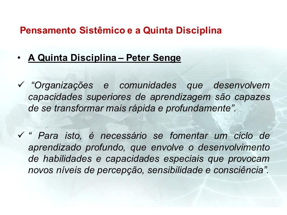 Pensamento Sistêmico e a Quinta Disciplina A Quinta Disciplina – Peter Senge Organizações e comunidades que desenvolvem capacidades superiores de apre