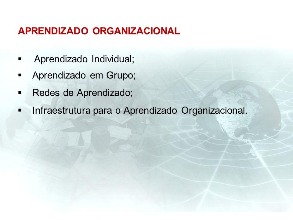 APRENDIZADO ORGANIZACIONAL Aprendizado Individual; Aprendizado em Grupo; Redes de Aprendizado; Infraestrutura para o Aprendizado Organizacional.