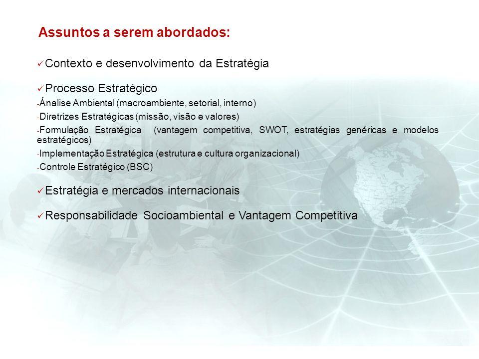 Contexto e desenvolvimento da Estratégia Processo Estratégico - Ánalise Ambiental (macroambiente, setorial, interno) - Diretrizes Estratégicas (missão