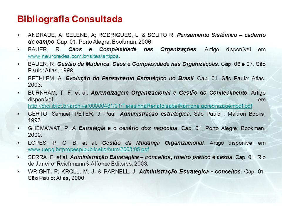 Bibliografia Consultada ANDRADE, A; SELENE, A; RODRIGUES, L. & SOUTO R. Pensamento Sistêmico – caderno de campo. Cap. 01. Porto Alegre: Bookman, 2006.